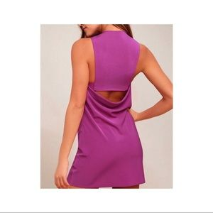 Lulu's- Fuchsia Cut Out Back Shift Dress- Sz. M